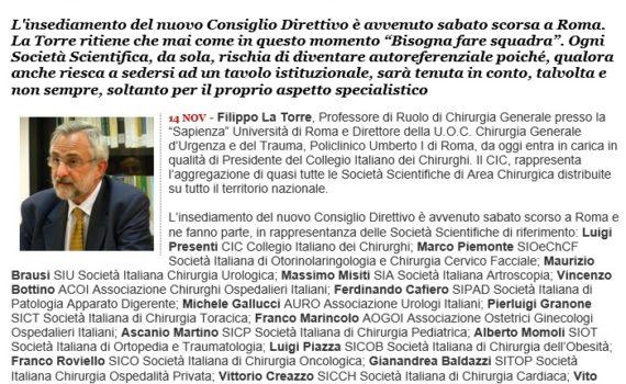 Filippo La Torre - Il nuovo presidente del collegio italiano dei chirurghi